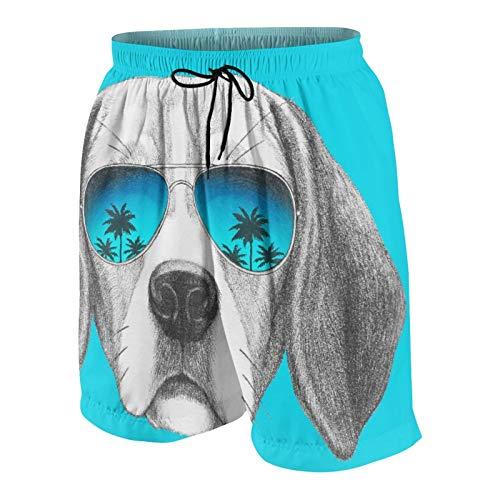 Popsastaresa De Los Hombres Casual Pantalones Cortos,Retrato de Perro Beagle con Gafas de Sol de Espejo Dibujadas a Mano,Secado Rápido Traje de Baño Playa Ropa de Deporte con Forro de Malla