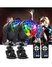 Disco licht, led-discobal, discolicht, 2 stuks, muziekgestuurd, party, discolichteffecten, 360 graden draaibaar, met 4 m USB-kabel, 7 kleuren, voor Halloween, Kerstmis, kinderen, kamer, bar, party
