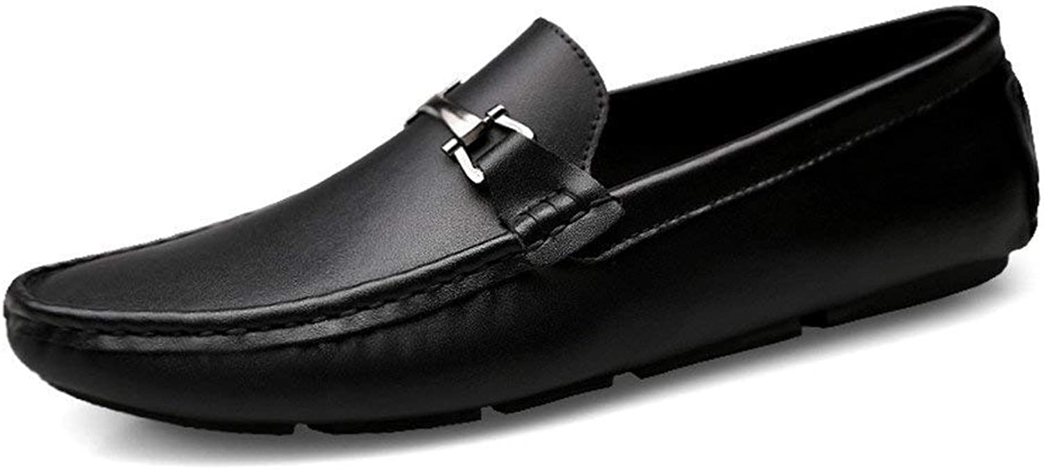 Hhgold 2018 Mens Moccasins shoes, Loafers Men Boat shoes Slip-on Genuine Leather Moccasins Flat Casual Driving shoes (color  Black, Size  40 EU) (color   As shown, Size   One size)
