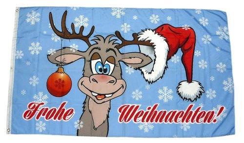 Fahne/Flagge Frohe Weihnachten Elch Kugel 90 x 150 cm