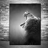 SLQUIET Impresión de Lienzo de león impresión de Arte Cartel de Animal Blanco y Negro e impresión de Lienzo de león Pintura decoración de Arte Pintura Decorativa sin Marco 40x60 cm