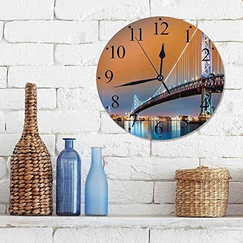 Silencioso Wall Clock Decoración de hogar de Reloj de Redondo,Decoración del apartamento, el puente Ben Franklin y el horizonte de Filadelfia visto desde,para Hogar, Sala de Estar, el Aula