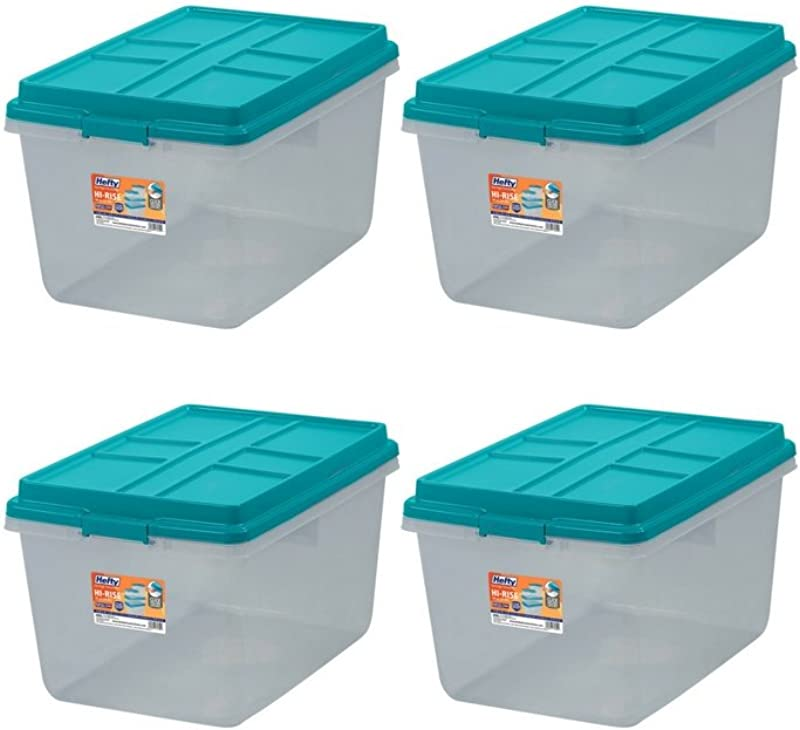 Single Unit 72 Quart Hefty Hi Rise Clear Latch Box In Teal Sachet Lid And Handles 4 Pack