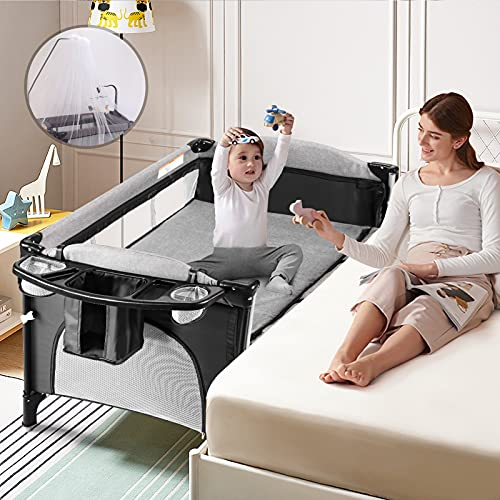 Baby Bassinet Bedside Crib, Baby Bed Travel Crib Bedside Cribs Baby Cot Playard Lightweight Playpen Nursery Pack with Play with Mattress, Diaper Changer and Playards from Newborn to Toddles