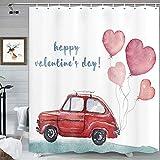 Happy Valentine's Day Duschvorhang, rotes Auto mit romantischen Herzen, Luftballons, rustikaler Duschvorhang-Set für Badezimmer, weiß wasserdicht, grüner Raumduschvorhang mit Haken, 175,3 x 177,8 cm