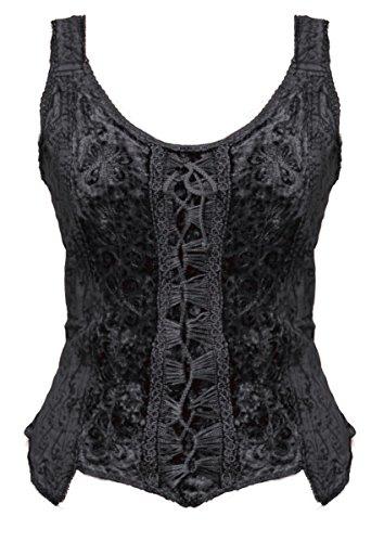 Dark Dreams Gothic Mittelalter LARP Bluse Alina, Farbe:schwarz, Größe:S/M