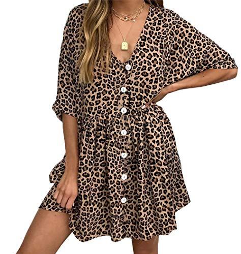 Ajpguot Sommerkleider Damen Mode Druck Leopard Kleider V-Ausschnitt Blusenkleider Freizeit Kurz Kleid mit Taste Strandkleider Tasche Minikleid (S/36, Khaki)
