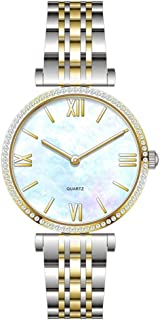 Wangyr Golden Copper Color Woman Girl Lady Student Simple Diamond Rhinestone Ultra-thin Quartz Watch Stainless Steel Strap Fashion Waterproof 3ATM Holiday Gift Unique Fashion Classic Casual Luxury Bus