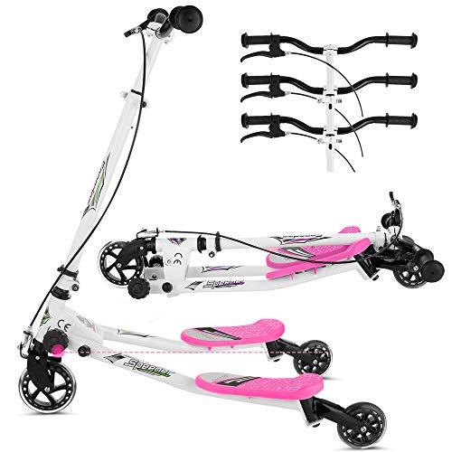 Lonlier Wiggle Scooter Monopattino con movimento a farfalla, a forma di Y, con 3 ruote, piegabile, con 3 inserti scorrevoli, con struttura oscillante, per bambini dai 5-8 anni, Bambino, rosa