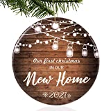 Unsttna First Christmas in Our New Home Ornaments 2021 Our First Christmas New Home Married Wedding Decoration 3' Ornament, Christmas Tree Decoration