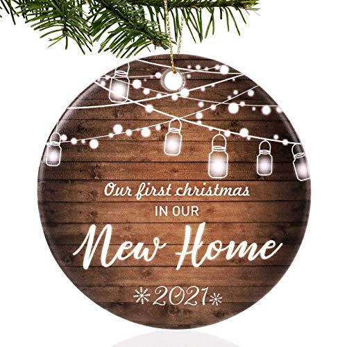 Unsttna First Christmas in Our New Home Ornaments 2021 Our First Christmas New Home Married Wedding Decoration 3