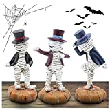 FANSIREN Pack of 3 Mummy Dancing On The Pumpkin Resin Decorations, Resin Halloween Figurines for Halloween Party Home Decor, Halloween Mummy Statues for Home Garden Yard
