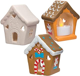 Baker Ross Gingerbread House Ceramic Tealight Holders (Box of 3) for Kids Christmas Crafts and Decorations