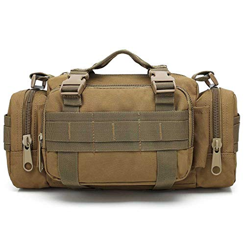 VIIDOO 3P Military Duffel Fanny Packs Waist Bag, Molle Bicycle/Motorcycle Waterproof Camera Bag EDC Utility Pouch Crossbody with Shoulder Strap Hand Carry (Tan)