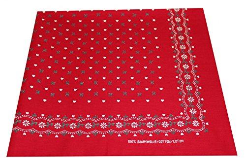 Preisvergleich Produktbild Tobeni 548 Damen Herren Nickituch Kopftuch Bandana Halstuch Baumwolle Unisex Farbe Herzen Rot Grösse 54 cm x 54 cm