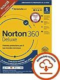 norton 360 deluxe 2021, antivirus per 5 dispositivi, licenza di 15 mesi con rinnovo automatico, secure vpn e password manager, pc, mac, tablet e smartphone, codice d'attivazione via email