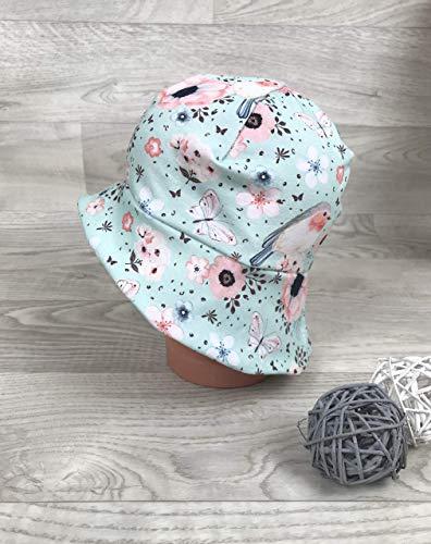 Sonnenhut inkl Nackenschutz 41-54 Jersey mütze mädchen mint Vogel kopftuch, Sonnenschutz baby, Schirmmütze, s