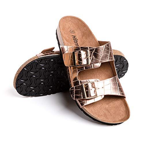 Sandalias Mujer Planas Zapatillas Verano Chanclas con Hebilla Mules Zapatos Soporte del Arco Comodas Gold Talla36 EU