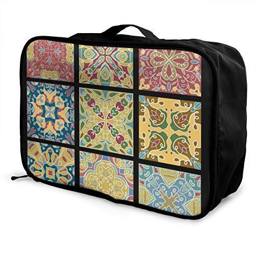N/P Opvouwbare Kubus Reistas Mode Lichtgewicht Grote Capaciteit Draagbare Bagage Tas (Keramische Tegels Voor Marokkaanse Vintage Wijn), 15