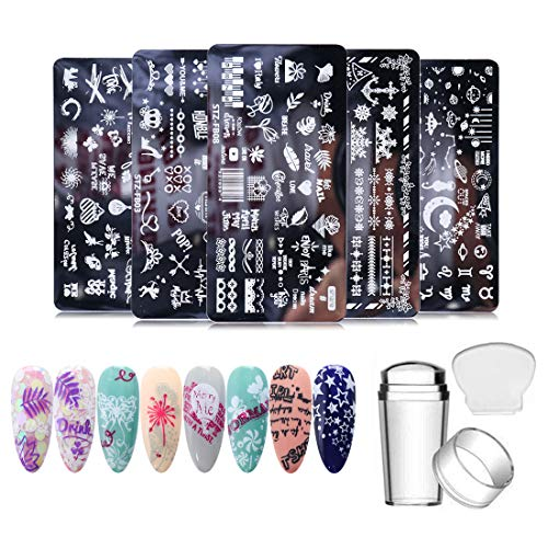 5 Pieces Nail Stamping Plate Template SetNail Art Template + 1 Stamp +1 Scrapter Word Heart Letter Love Patterns Nail Art Stamper Template Manicure Nail Art Stencil Nail Polish Supplies