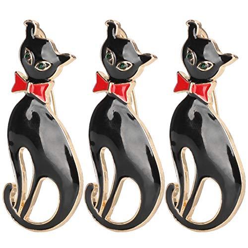 Broche de 3 uds, Pin de solapa con patrón de gato, broche con insignia bonita, accesorios de ropa, alfileres, alfileres de joyería