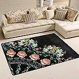 ONLED Viertelkreis-Teppich mit rosa Rosen auf...