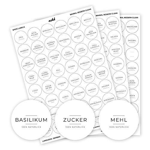 ashk® Gewürzetiketten (144 Stück) - modern & minimalistisch - Deutsche Labels - 3cm - rund - Weiß - Wasserfest, Abwischbar & Selbstklebend - Aufkleber für Gewürzgläser, Dosen & Regale
