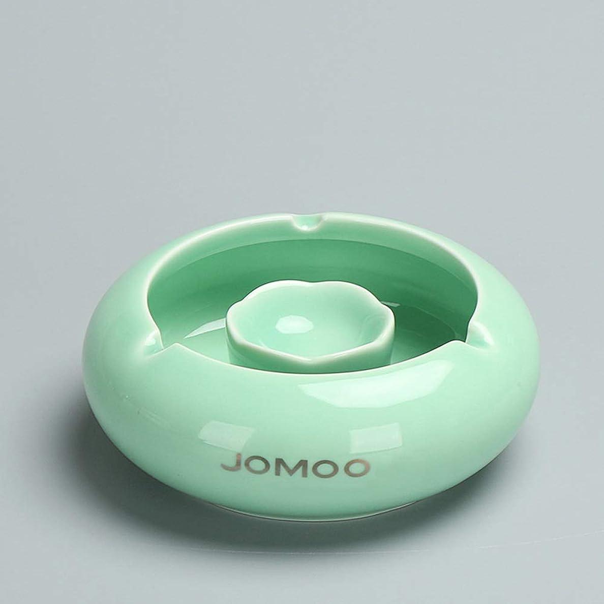 ポジティブお気に入り第五タバコ、ギフトおよび総本店の装飾のための灰皿円形の光沢のあるセラミック灰皿 (色 : 緑)