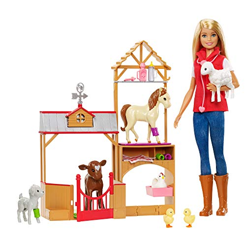 Barbie GCK86 Sweet Orchard Farm Blonde Doll and Playset with 7 Animals