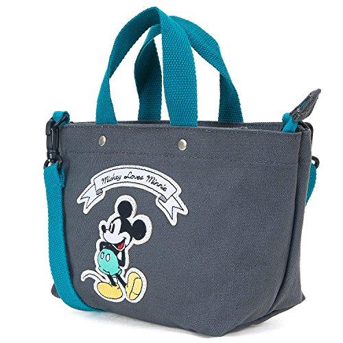 ililily Disney Mickey Maus Flicken Baumwolle Kanevas Schulter klein Handtasche, Dark Grey