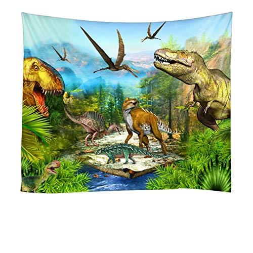 KHKJ Dinosaurio León Elk Tapiz de Montaje en Pared Tela de poliéster psicodélico Hippie Tapiz de Pared sábanas de Dormitorio A6 200x180cm