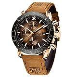 BENYAR Relojes Hombre Relojes de Pulsera Cronografo Diseñador Impermeable Reloj Hombre Banda de Cuero Analogicos Fecha de Pulsera Regalo Elegante