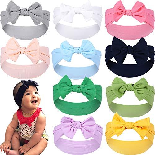 Gacimy Baby Girl Headbands Knotted Hair Bows Nylon Elastic Turban Headwrap Accessories, Classic 10pcs