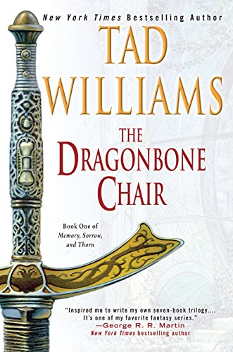 Book cover for The Dragonbone Chair by Tad Williams. Light background with the illustration of a sword in the foreground.