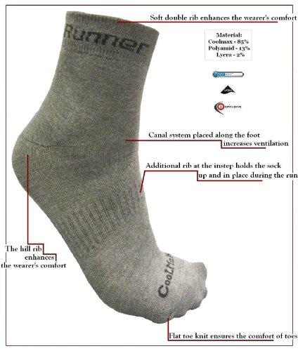 eXPANSIVE étendu de Course à Pied Jogging Chaussettes Coolmax Gris Taille UK 6–8 (39–42)
