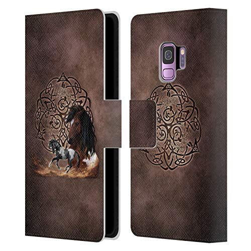 Head Case Designs Officially Licensed Brigid Ashwood Horse Celtic Wisdom Leather Book Wallet Case Cover Compatible with Samsung Galaxy S9