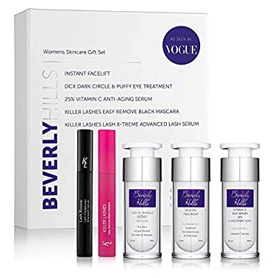 Beverly Hills Anti Ageing Skin Care For Women - Facial Kit Contains Instant Facelift (Original Bottle), Anti Aging Serum, Dark Circle & Puffy Eye Treatment, Lash Serum and Black Mascara