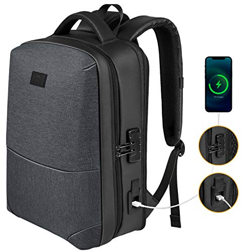 Anti Theft Hard Shell Laptop Backpack 15.6 Inch, Waterproof Expandable Business Computer Backpack with USB Charging Port and Lock for Men, Durable College Student Bookbag Travel Daypack, Black