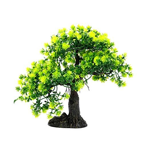 ALIANG Decoración de pecera Árbol de bonsái - Árbol de Pino Artificial Decoración de Plantas de plástico para Acuario Ornamento de bonsái Árbol de Paisaje Artesanal Verde