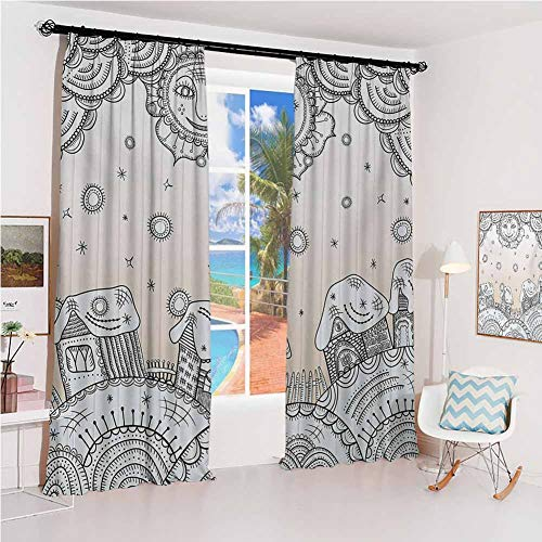 Grunge Sunshade Sunscreen Curtain Smiley Sun and Houses on Earth Round Shapes Childhood Cartoon Traditional Festive Theme Soundproof Shade W52 x L84 Inch Beige