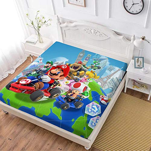 Fitted Sheet,Mario Luigi Princesse Peach Yoshi Bowser (1),Soft Wrinkle Resistant Microfiber Bedding Set,with All-Round Elastic Deep Pocket, Bed Cover for Kids & Adults,twin (47x80 inch)