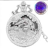 IOPMIE Pocket Watch Top Luxury Gold Luminous LED Quartz Pocket Watch Train Locomotive Engine Steampunk Quartz FOB Light Watch Gifts for Men Women,Silver with LED
