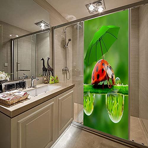 3D Puerta Engomada del Arte Mural de la Moderno,Paraguas verde, mariquitaEtiqueta de Puerta Autoadhesiva Extraíble Impermeable dormitorio decoración del hogar 77x200cm