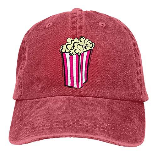 Hoswee Baseballmütze Hüte Kappe Unisex Baseballmütze Hut Popcorn ClipArt Vintage Denim Cabbie Mütze für Männer