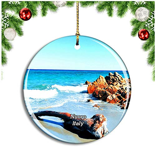 Weekino Nuoro Italy Oasi Biderosa Christmas Ornament Xmas Tree Decoration Hanging Pendant Travel Souvenir Collection Double Sided Porcelain 2.85 Inch