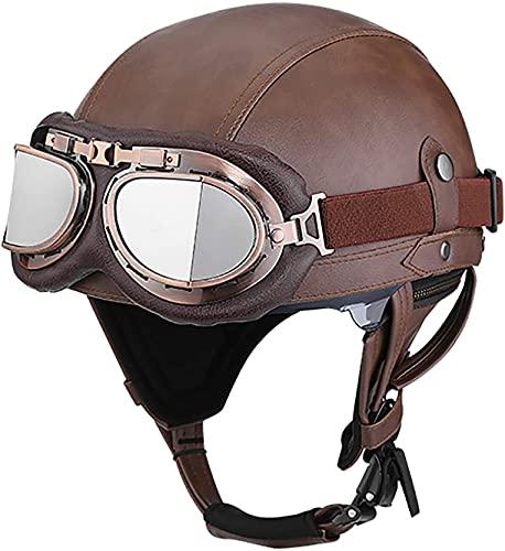 OOMEI Medio Casco de Moto Abierto,Casco Moto Jet Vintage Casco de Motocicleta para Hombres y Mujeres Retro Seguridad Ligera Eléctrico Casco Half-Helmet,ECE Homologado (Color : B, Size : S=54~56cm)