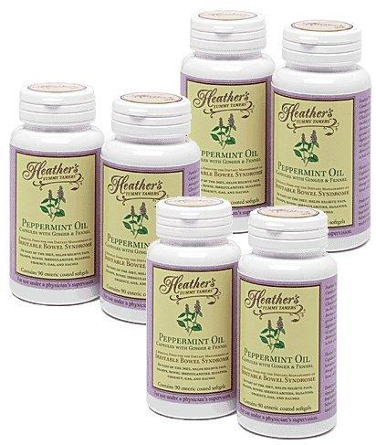 Peppermint Oil Capsules Bulk KIT (6 Bottles) for Irritable Bowel Syndrome ~ Heather's Tummy Tamers