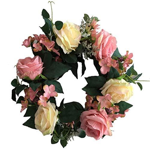 Cgration Künstliche blaue Rosen Blumen Kranz Frühlingskranz Outdoor für Haustür Wand Fenster Party Hochzeit Dekor