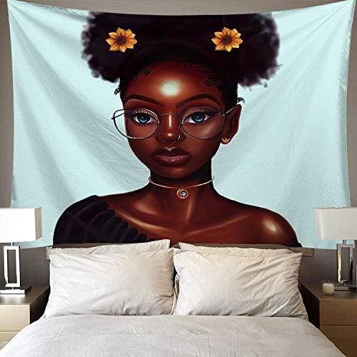 WERT Tapiz de Mujer Africana, Tela de Fondo de Hermoso patrón Personalizado, Tapiz Mural de decoración del hogar del Dormitorio A17 150x200cm