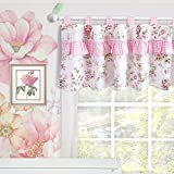 Brandream Window Valance Cotton Curtain for Baby/Toddler/Kid Bedroom Bath Laundry Living Room, Ruffled Floral Printed, Pink